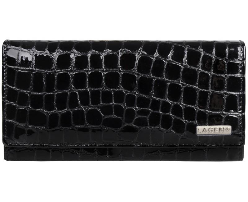 dámská černá kožená peněženka Lagen zvířecí vzor