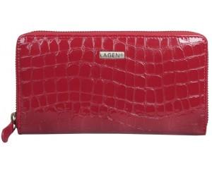 dámská kožená peněženka Lagen na zip červená
