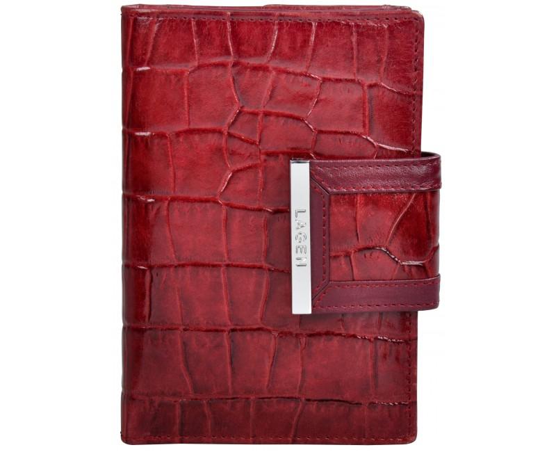 červená kožená peněženka Lagen dámská se sponou