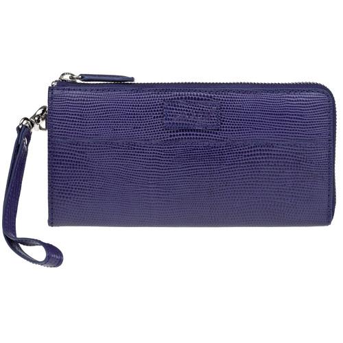 dámská fialová kožená peněženka na zip