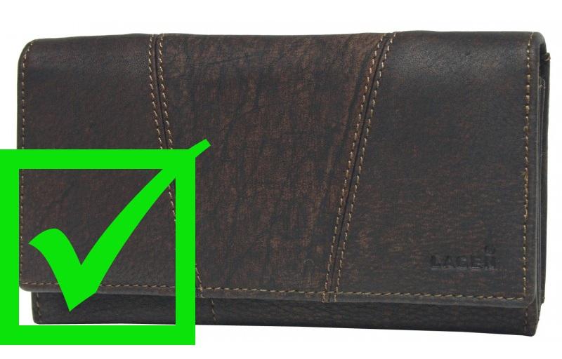 dámská hnědá kožená peněženka Lagen