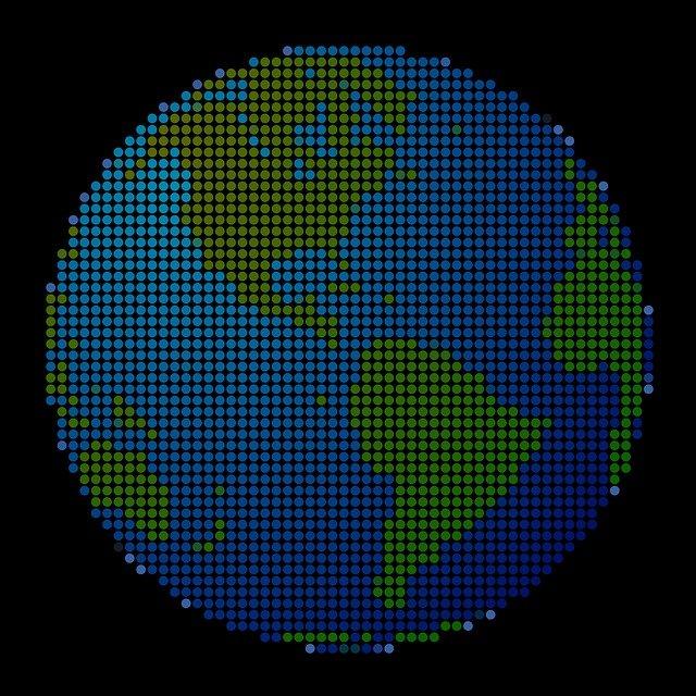 planeta Země složená z puntíků